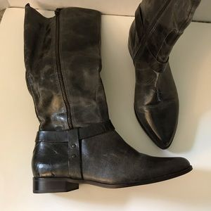 Matisse tall gray leather distressed zipper boots